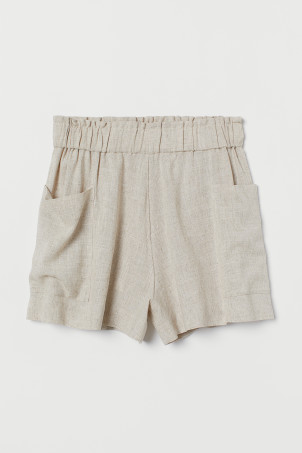 Linen-blend shorts High Waist