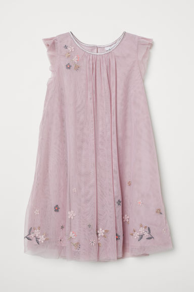 Tulle dress with embroidery - Powder pink - Kids | H&M
