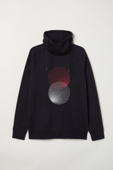 Funnel-collar sweatshirt - Black/Circles - Men | H&M GB