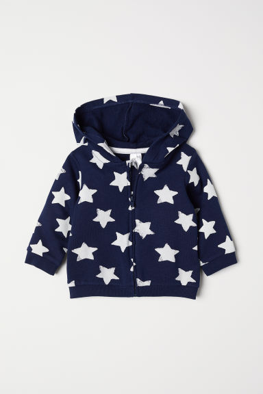 Printed hooded jacket - Dark blue/Stars - Kids | H&M CN