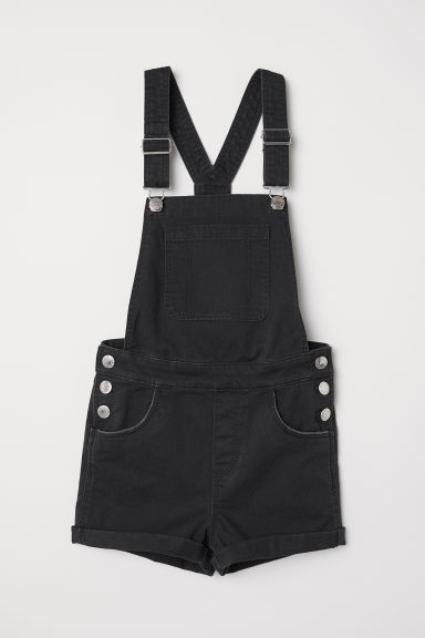Dungaree shorts - Black - Kids | H&M