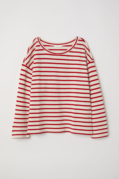 Knitted top - Natural white/Red striped - Ladies | H&M