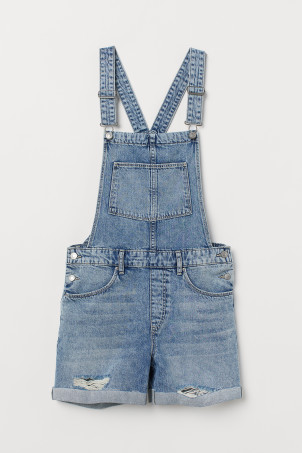 Denim Bib Overall ShortsModel