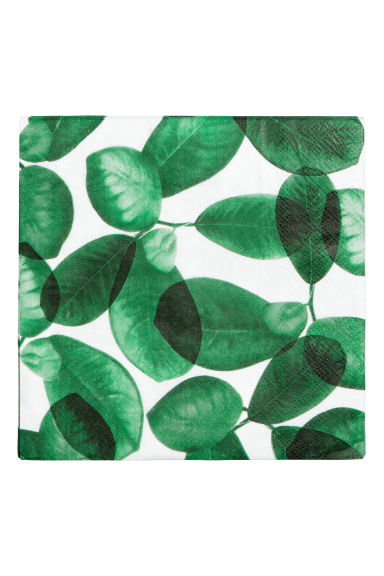 Paper napkins - White/Leaf - Home All | H&M IE