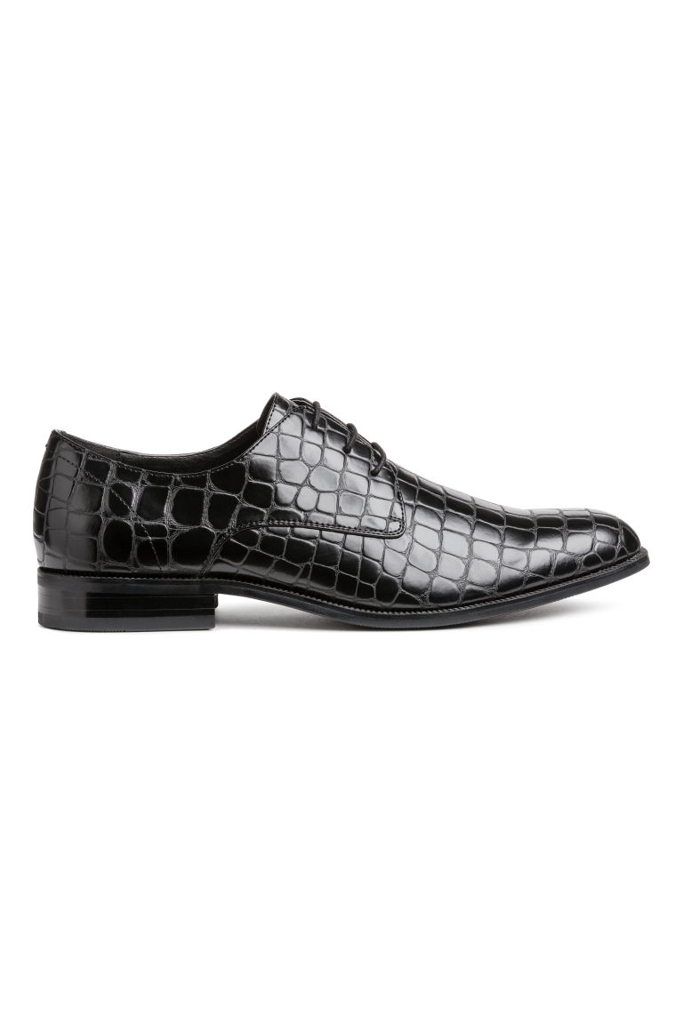 Derby shoes - Black/Crocodile-patterned - Men | H&M GB