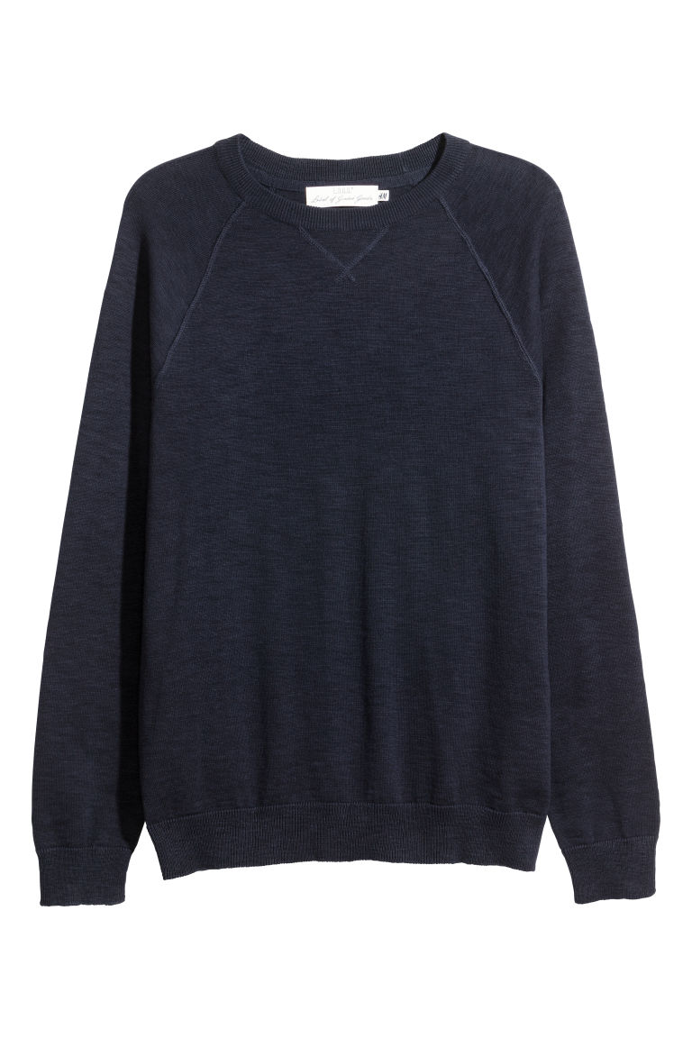 Fine-knit cotton jumper - Dark blue - Men | H&M