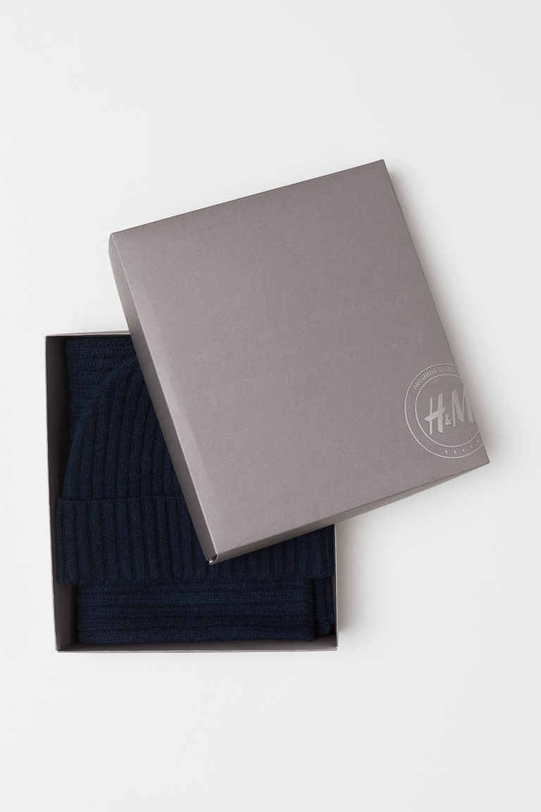 Cashmere-blend hat and scarf - Dark blue - Men | H&M