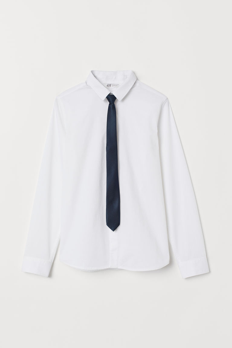 Shirt with a tie/bow tie - White/Tie - Kids | H&M GB