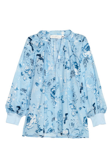 Modal blouse - Light blue/Patterned - Ladies | H&M CN