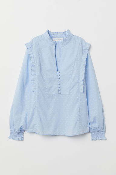 Stand-up collar cotton blouse - Light blue - Ladies | H&M