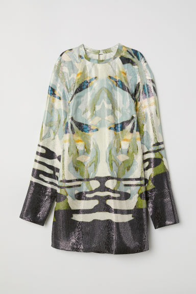Lyocell and silk dress - Green/Black patterned -  | H&M CN