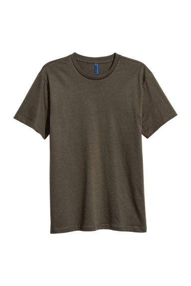Round-necked T-shirt - Dark olive green - Men | H&M