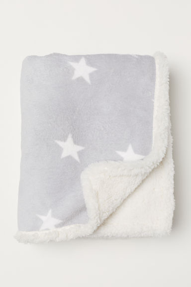 Patterned Fleece Throw - Light gray/stars - Home All | H&M CA