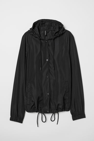 Printed windbreaker - Black/United - Ladies | H&M CN