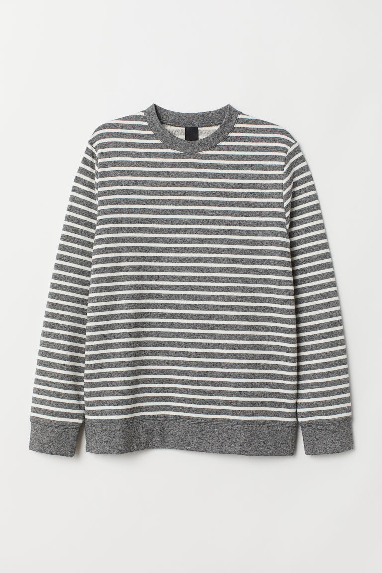Striped sweatshirt - Grey marl/White striped - Men | H&M CN