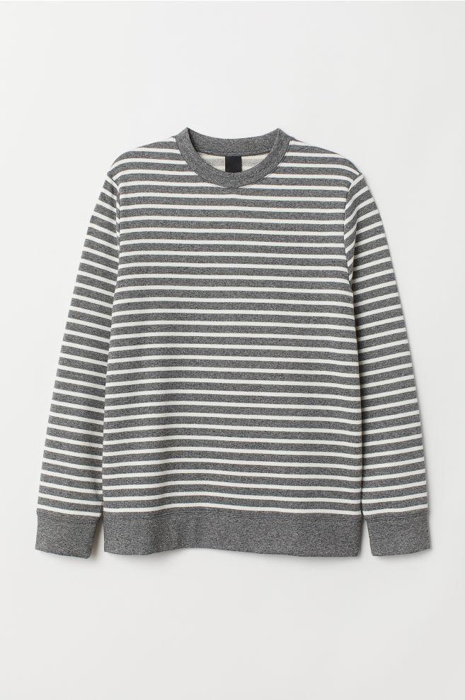 073692ea0 Striped Sweatshirt - Gray melange white striped - Men