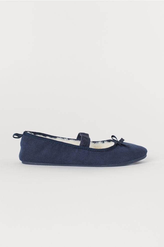 d8b97d135de5 Pile-lined Ballet Slippers - Dark blue - Kids