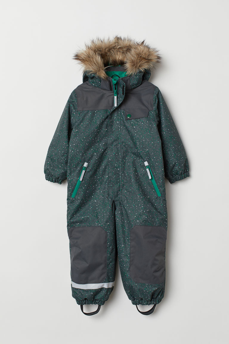 Padded all-in-one suit - Dark grey/Dark green - Kids | H&M