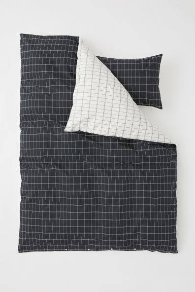Set copripiumino in cotone - Grigio scuro/quadri - HOME | H&M IT