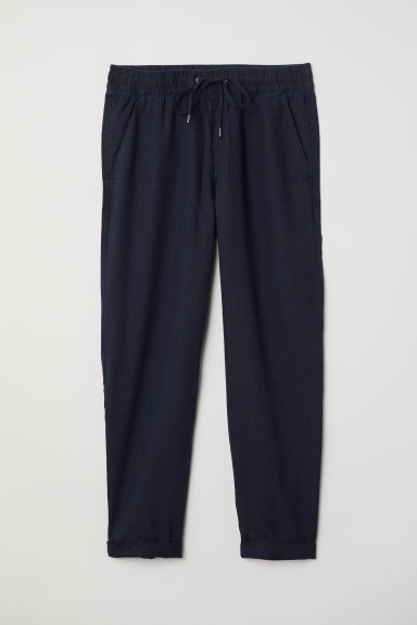 Linnen joggers - Donkerblauw -  | H&M NL