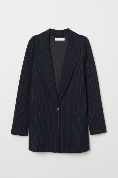 Jersey jacket - Dark blue/Pinstriped - Ladies | H&M