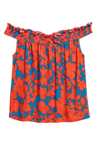 Off-the-shoulder top - Orange/Blue patterned - Ladies | H&M CN