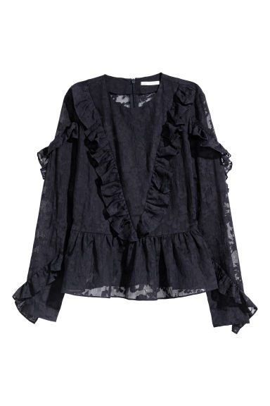 Frilled blouse - Dark blue -  | H&M CN