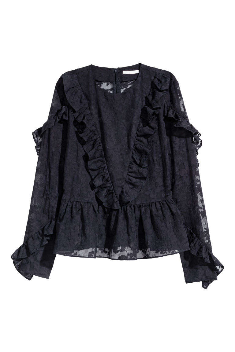 Frilled blouse - Dark blue - Ladies | H&M
