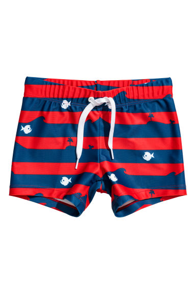 Patterned swimming trunks - Dark blue/Red striped - Kids | H&M CN