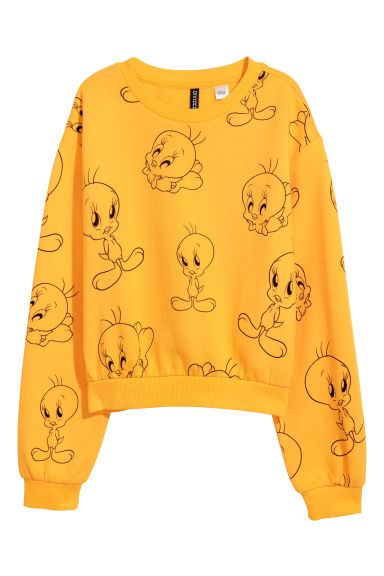 Printed sweatshirt - Light yellow/Looney Tunes - Ladies | H&M