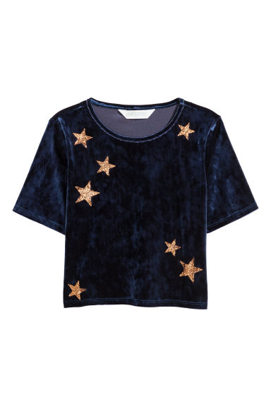 Cropped velvet top - Dark blue/Stars - Kids | H&M GB