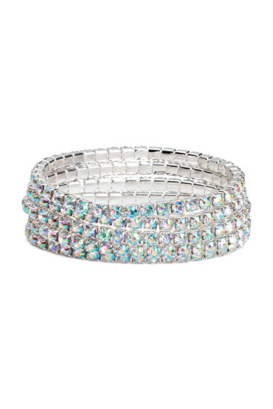 5-pack sparkly stone bracelets - Silver-coloured -  | H&M GB