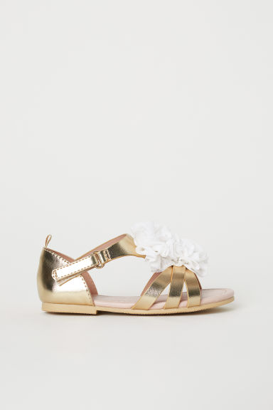 Appliquéd sandals - Gold-coloured/Flowers - Kids | H&M CN