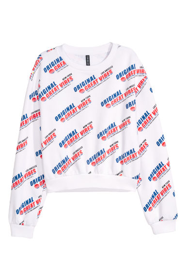 Printed sweatshirt - White/Original -  | H&M IE
