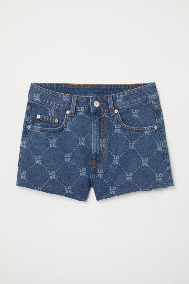 Denim shorts - Dark denim blue/Love - Ladies | H&M CN