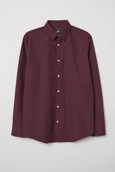 Easy-iron shirt Slim fit - Burgundy/White spotted - Men | H&M CN