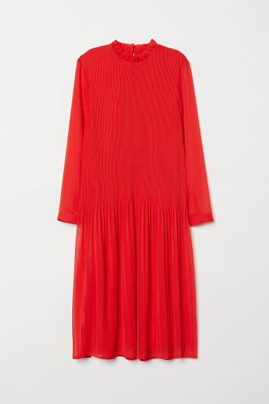 Pleated Dress - Bright red - Ladies | H&M US