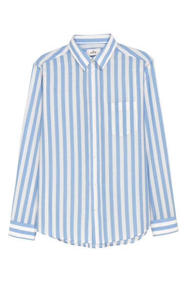 Poplin shirt - Blue/White striped - Men | H&M