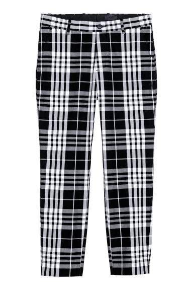 Checked trousers - Black/White checked -  | H&M CN