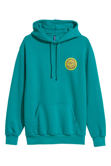 Hooded top - Dark turquoise/Hypnotizer - Men | H&M