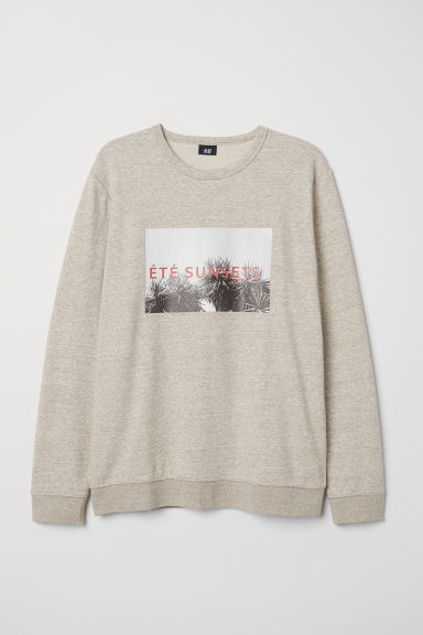 Sweatshirt with a motif - Beige marl - Men | H&M