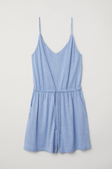 V-neck playsuit - Light blue marl -  | H&M