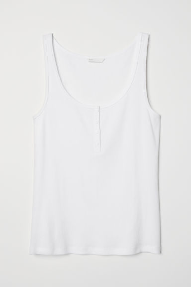 Ribbed vest top with buttons - White - Ladies | H&M