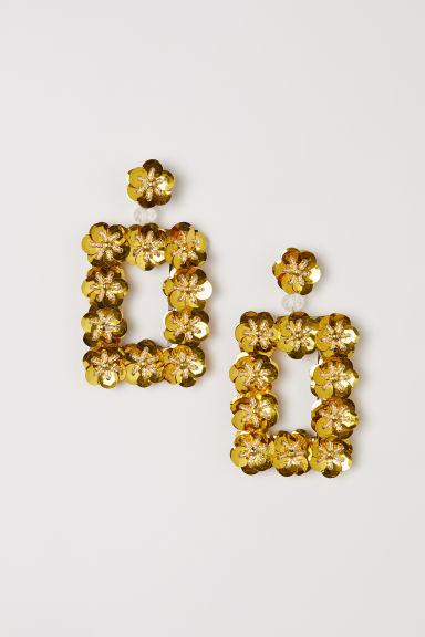 Sequined earrings - Yellow -  | H&M IN