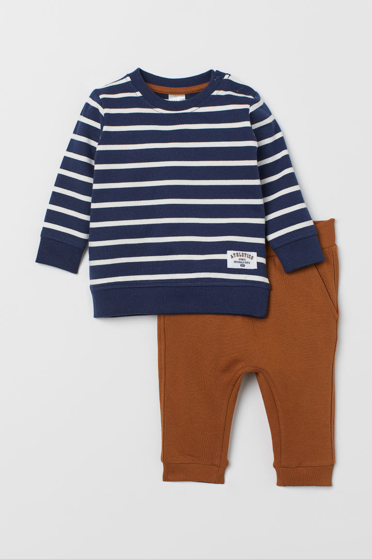Sweatshirt and Joggers - Dark blue/white striped - Kids | H&M US