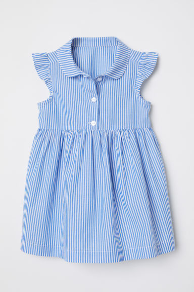 Butterfly-sleeved dress - Blue/White striped - Kids | H&M CN