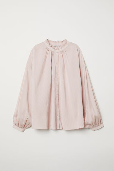 Blouse with a frilled collar - Powder pink -  | H&M