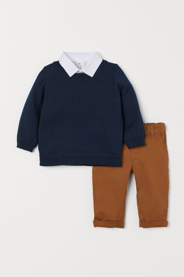 Sweater and Pants - Dark blue/light brown - Kids | H&M US
