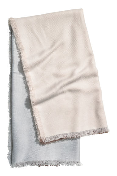 Large scarf - Natural white/Block-coloured -  | H&M