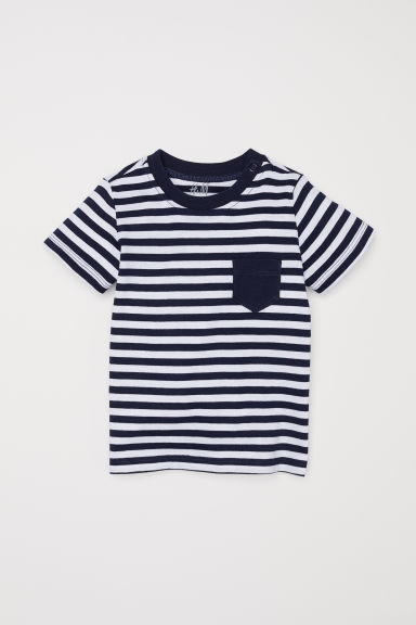Cotton T-shirt - Dark blue/White striped -  | H&M